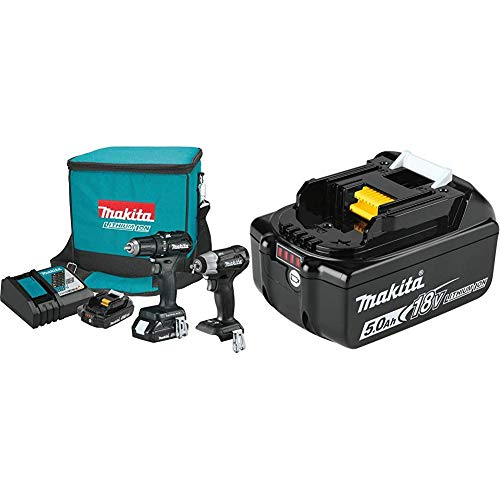 Makita CX201RB 18-Volt LXT Lithium-Ion Sub-Compact Brushless Cordless 2-Piece Combo Kit (Driver-Drill/Impact Wrench) 2.0Ah with BL1850B 18-Volt 5.0Ah LXT Lithium-Ion Battery