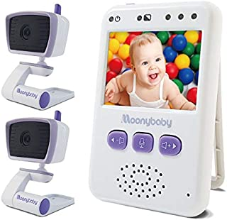 Baby Monitors with 2 Cameras by Moonybaby, Long Battery Life, Long Range, Non-WiFi, Color Screen, Auto Night Vision, 2 Way Talk Back, Zoom in, Power Saving and VOX, Voice Activation