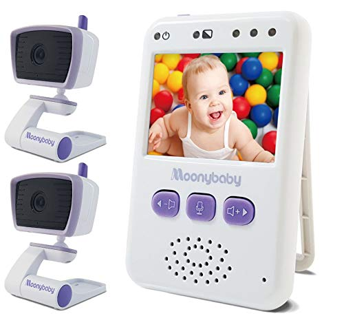 Moobybaby Value 100-2 Video Baby Monitors with 2 Cameras, Long Battery Life, Long Range, Non-WiFi, Color Screen, Auto Night Vision, 2 Way Talk Back, Zoom in, Power Saving and VOX, Voice Activation