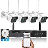 【3MP & 2 Way Audio】 Jecurity Wireless Security Camera System with 1TB Hard Drive,4Pcs 3MP Cameras with 3MP 8 Channel NVR,Outdoor IP66 Waterproof,Night Vision,Motion Alert,H.265+ NVR,7/24 Record
