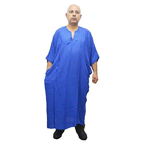 Djellaba marocaine pour homme ou femme 100% coton Taille unique pour toutes les personnes grasses ou minces Toucher léger frais et agréable sur la peau. Large 80 cm Long 140 cm environ (Bleu intense)