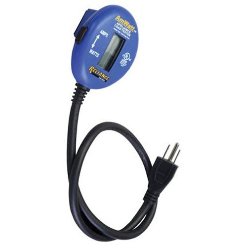 Reliance Controls Ammeter and Wattmeter THP103 AmWatt Appliance Load Tester/Plug, Blue
