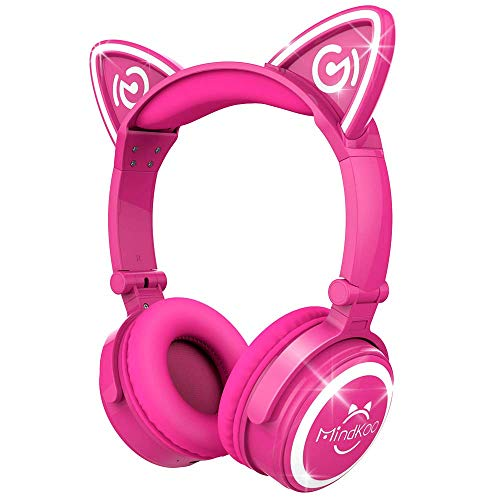 MindKoo Bluetooth Headphones Over-Ear Wireless Headphones Cat Ear Headphones with LED Light Foldable Built-in Microphone and Volume Control for PC Cell Phones Kids Teenager Boys Girls Adults Hot Pink