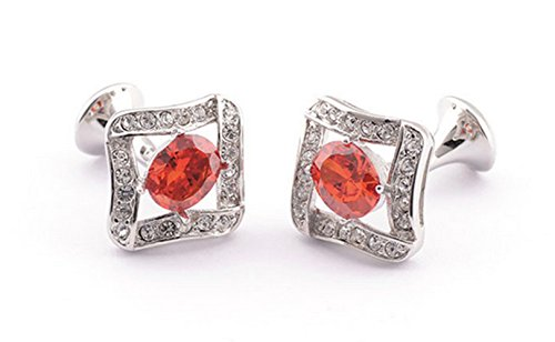 Gudeke Red Zircon Rhinestone Gem Diamonds Men's Shirts Cufflinks Chemises Boutons de manchette Rouge Zircon strass Cuff links