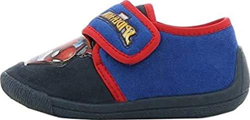 Spiderman Jungen Boys Kids Houseshoes Velcro Low Niedrige Hausschuhe, Blau (Dark Blue), 31 EU