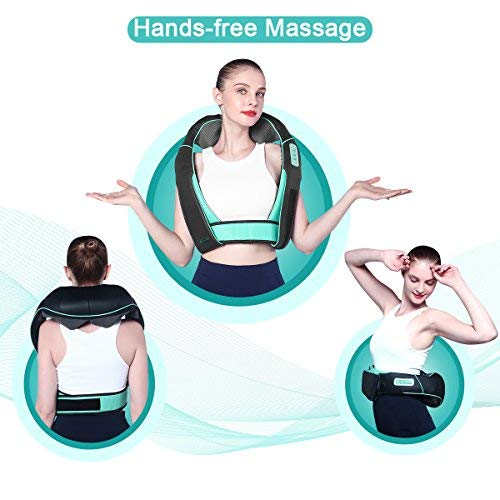 Atsuwell Shiatsu Neck and Shoulder Massager with Heat Hands Free Belt Deep Kneading Massagers for Neck and Shoulder Back Massage to Relieve Pain, Electric Full Body Massage at Car Office Home