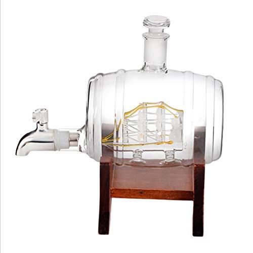H HILABEE Decantador de whisky de barril, dispensador de licor de 1000ml, juego de regalos único, hecho a mano, soplado a mano