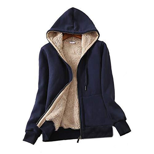 Flygo Womens Casual Winter Thick Fleece Lined Zip up Hooded Sweatshirt Jacket Coat (X-Large, Navy Blue)