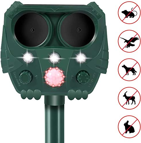 Dog Cat Repellent, 2020 Ultrasonic Pest Repellent with Motion Sensor and Flashing Lights Outdoor Solar Powered Waterproof Farm Garden Yard Repellent, Cats, Dogs, Foxes, Birds