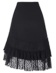 Belle Poque Ladies Punk Gothic A-Line Skirt 50s Retro Victorian Ruffled Fancy Cosplay Skirt Black M #1