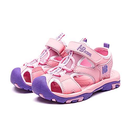 JINSUO Sandalias de verano para niña, de 4 a 12 años, para niños y jóvenes, para la playa, tallas 26 a 37 (color: 7350 rosa, talla de zapato: 27 pies de 16,3 cm)