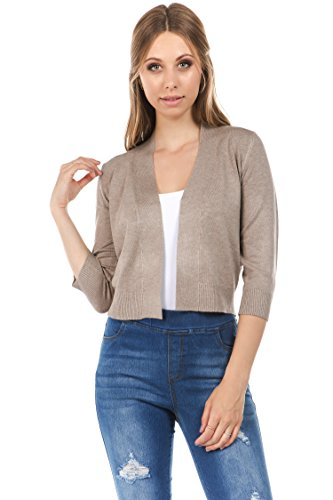Cielo Women's Soft Solid Colored Open Front 3/4 Sleeve Cardigan Camel Large