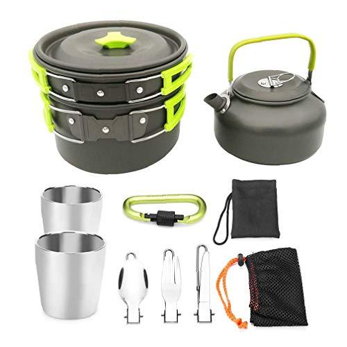 Camping Geschirr Sets 2 Person Picknick Tee Topf Und Pfanne Set Im Freien Wandernd Kochen Sets Outdoor-zubehör 1 Satz Grün