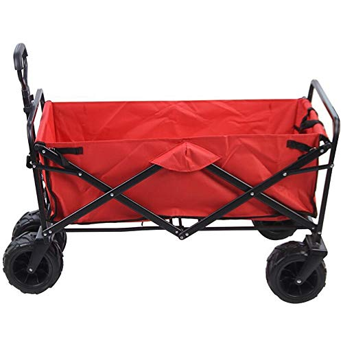HDBN Shopping Trolley Wide Wheel All Terrain Folding Utility Wagon Collapsible Folding Outdoor Utility For shopping (Color : Red, Size : 86x52x76cm)