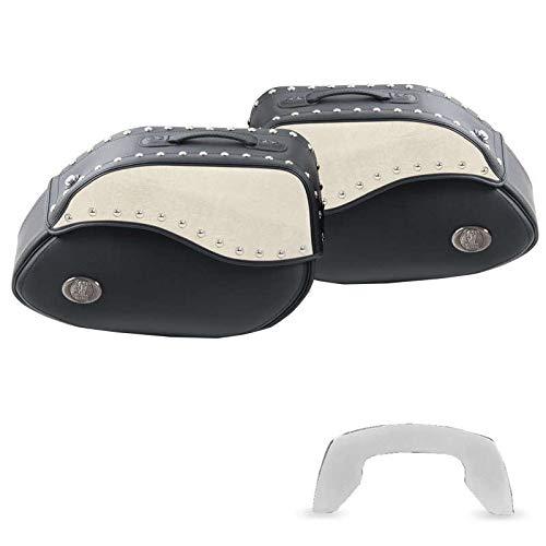 H&B Motorrad Satteltaschen für Motorrad Taschen Ledersatteltaschenpaar Ivory 60 C-Bow schwarz/Elfenbein, Unisex, Chopper/Cruiser, Ganzjährig, beige