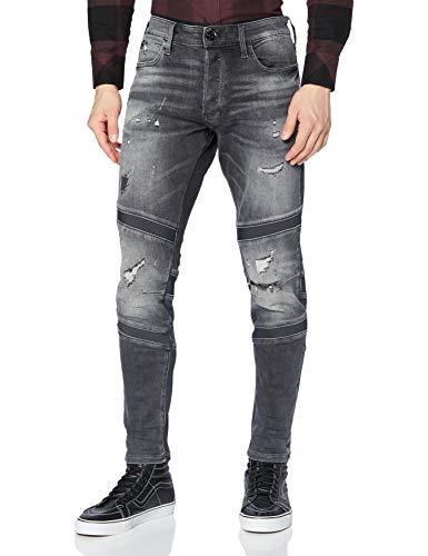 G-STAR RAW Mens Motac 3D Slim Jeans, Vintage Ripped Basalt A634-B841, 32W / L32