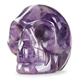 Artistone 2.0' Crystal Skull Statues,Hand Carved Human Skeleton Figurines Head Bone Art Sculpture Reiki Healing Stone Statue Personality Bar,Home,Office,Art Room Decoration(Amethyst)