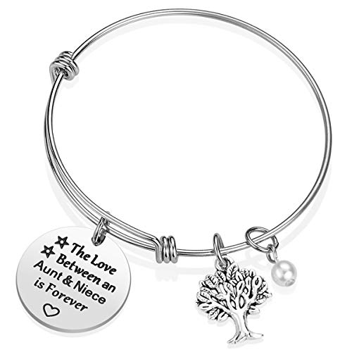 iJuqi Aunt Gift From Niece - Aunt Niece Bracelet, The Love Between An Aunt and Niece Is Forever, Aunt Birthday Gifts, Stainless Steel Aunt Jewelry Gift