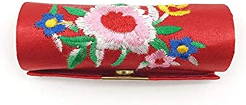 ZQLY Lipstick case Chinese style embroidered satin storage box makeup box (Color : Red)