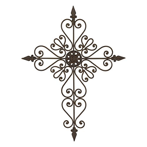 Lechesis 27' Metal with Cast Iron Crosses Wall Decor Large Tapered Wall Hanging Decorative for Home Indoor Outdoor (Brown)