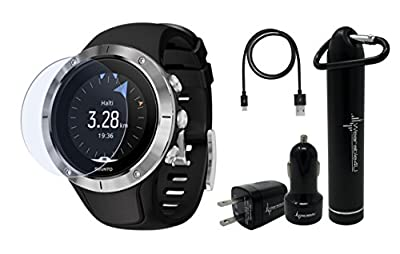 Suunto Spartan Trainer Wrist HR Multisport GPS Watch and Wearable4U Ultimate Power and Screen Protection Pack Bundle
