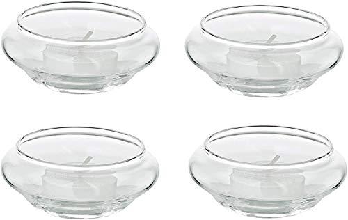 EDZARD 4er Set Schwimm-Teelichthalter Iris, mundgeblasenes Glas, Durchmesser 8 cm, Höhe 4 cm, Deko Schwimmkerzen für Teelichter, Kerzen fürs Wasser