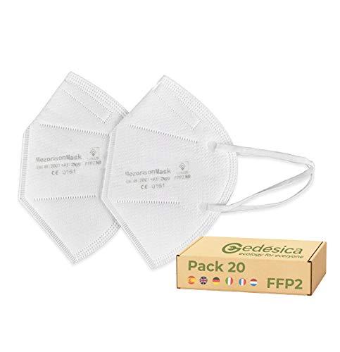 Pack x20 Mascarillas Protectoras Homologadas FFP2 con Certificación CE, Mascarilla protectora de polvo y partículas (20 unidades)
