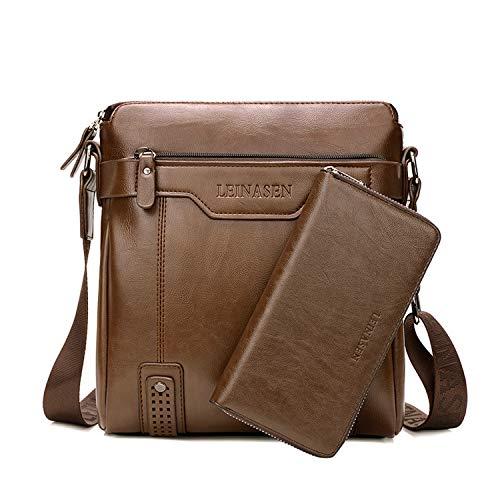 FANDARE Schoudertas heren schoudertas 7,9 inch iPad Messenger tas waterdicht Crossbody Bag PU, bruin A, Large…