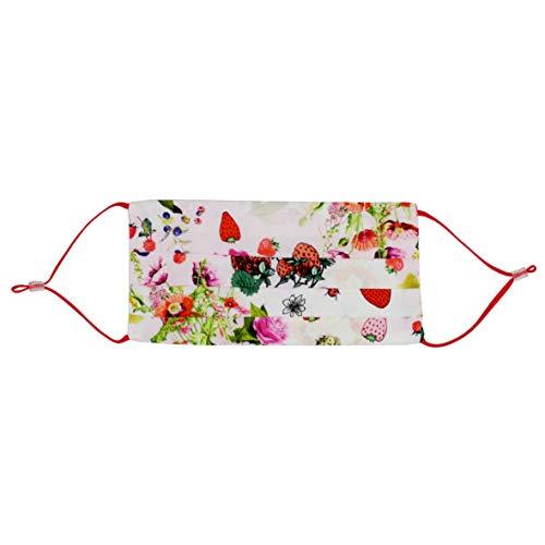 CODELLO Damen Gesichtsmaske | Mund-Nasen-Maske | Leichte Sommermaske mit Fruits and Flower-Motiv, Off-White, Einheitsgröße