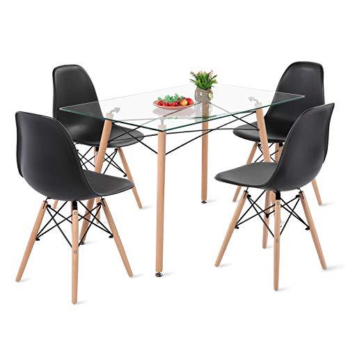 H.J WeDoo Esszimmergruppe mit Esstisch und 4 Essstühlen, Rechteckig Glas Tisch mit 4 Schwarz Skandinavisch Stühle für Esszimmer, Küche & Wohnzimmer