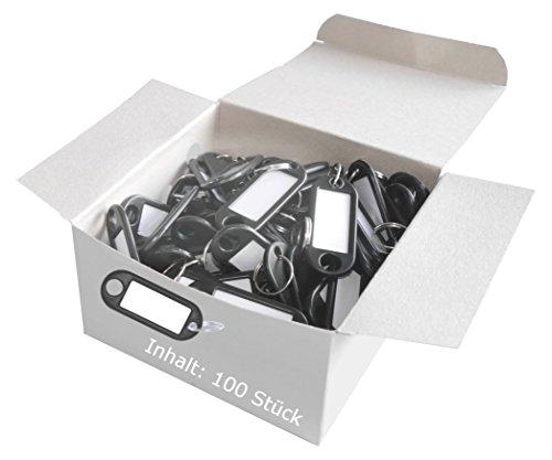 Wedo 262801801 Schlüsselanhänger Kunststoff (mit Ring, auswechselbare Etiketten) 100 Stück, schwarz