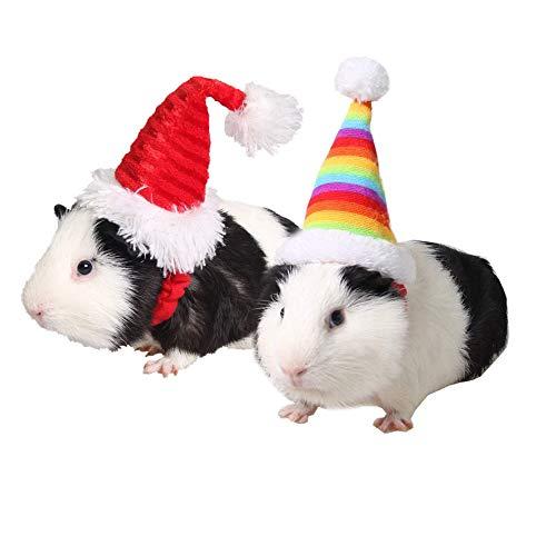 Asocea Kleine Mütze für Haustiere, für Feiertage und Weihnachten, elastisch, Hut für Hamster, Kätzchen, Kopfbedeckung, Haustier-Zubehör für Kaninchen, Meerschweinchen, Kleintiere, Rot, 2 Stück