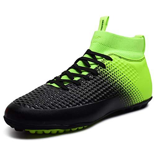 Zapatos de fútbol para niños Hombres Botas de fútbol para Interiores y Exteriores Turf Cleat Zapatillas para Correr Calzado competitivo Deportes Verde Oscuro 41