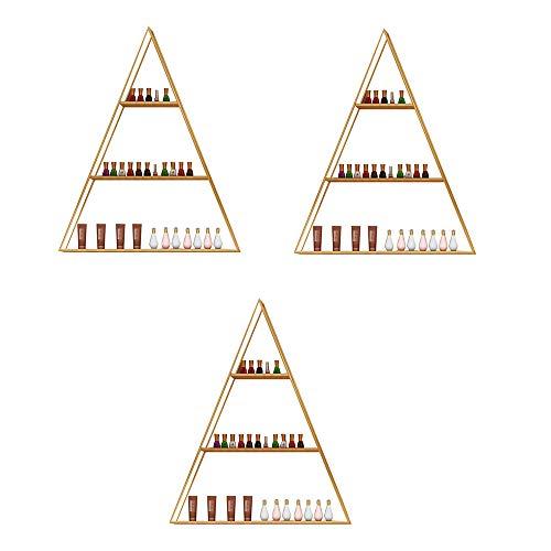 Métal Mural Présentoir de Vernis à Ongles,Support d'affichage de Stockage de Bouteille de Vernis à Ongles Simple Triangle doré ,Parfum aux huiles essentielles Rack de Stockage Tablette combinée