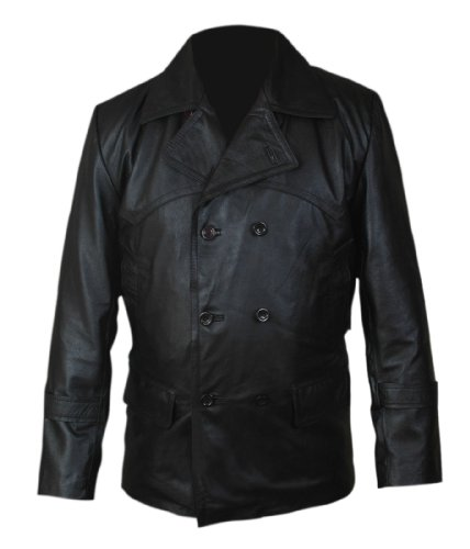 Men, Women The Day of the Doctor Cowhide Genuine Leather Distressed Black Coat
