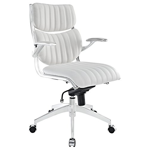 Modway Escape Ribbed Faux Leather Ergonomic Computer Desk Office Chair in White