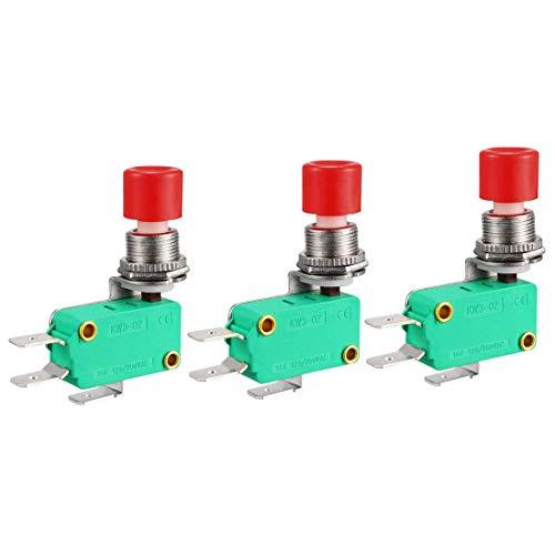 3 piezas 16A 125/250VAC SPDT NO NC 3 bornes de botón a presión tipo microinterruptores de fin de carrera.