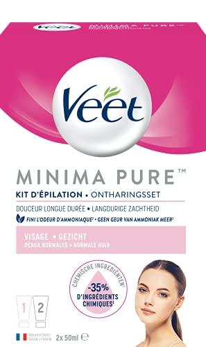 Veet Minima Pure Crème Dépilatoire Visage Peaux Normales 2 Tubes de 50 ml