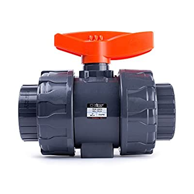 HYDROSEAL Kaplan 2'' PVC True Union Ball Valve with Full Port, ASTM F1970, EPDM O-Rings and Reversible PTFE Seats, Rated at 200 PSI @73F, Gray, 2 inch Socket (2 inch) by HYDROSEAL