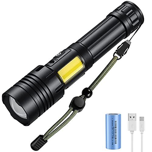 GH DYNAMICS Wiederaufladbare LED Taschenlampe,3000 Lumen Extrem Hell Taschenlampen mit 3400 mAh Batterie (Inklusive),Wasserdicht Zoombar Tragbarer Flashligt für Camping, Wandern,Outdoor und Notfälle