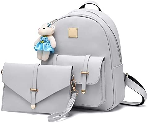 Grey Small Backpack Cute Bookbag Purse for Teen Girls with Bear Keychain product image