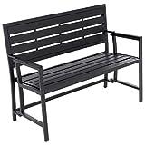 Nexos Gartenbank Parkbank klappbar Aluminium Polywood 110x48x85 cm 3-Sitzer Metall-Bank Sitzbank Alu-Bank Gartenmöbel – Farbe: grau