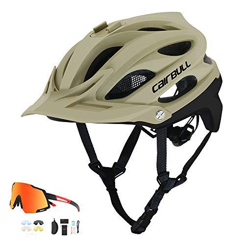 LQQZZZ Fahrradhelm Für Sport-Kameras, Die Berge Und Rennrad Helm EPS Polycarbonat Shell Einstellbare Größe (21.65-24.01Inch) CE-Zertifizierung Mit Polarisiertem Anti-Shock-Gläsern,A beige