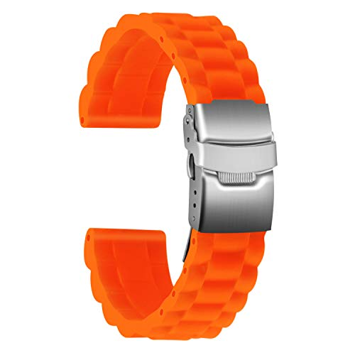 Ullchro Correa Reloj Calidad Alta Recambios Correa Relojes Caucho Link Pattern - 16mm, 18mm, 20mm, 22mm, 24mm Silicona Correa Reloj con Acero Inoxidable Hebilla desplegable (20mm, Naranja)
