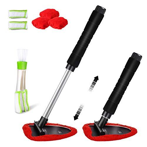 Masthome Auto Fensterwischer Kit,Einziehbares Reinigungswerkzeug für die Windschutzscheibe mit 3 Waschbare Mikrofasertuch und 2 in 1 Auto detailpinsel Auto Scheibenreiniger,Rot