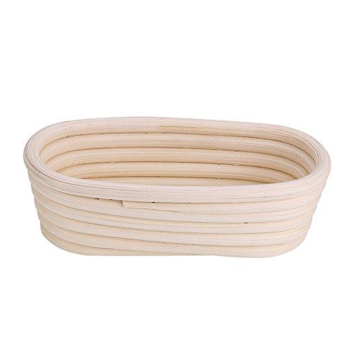 DEWIN Gärkörbchen - Korrekturkorb Handgemachtes ungebleichtes natürliches Rohrbanneton-Prüfkorb-Teig-Brot-Backset (15.5 x 8 x 5 cm)