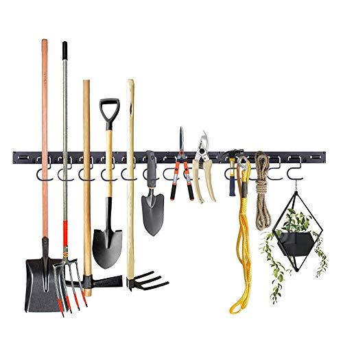 Almabner Garage Tool Hanger, organizador de herramientas de jardín de 48 pulgadas, soporte de herramientas montado en la pared con fuerte capacidad de rodamiento