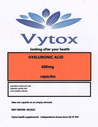 Hyaluronic Acid (400mg) 60 Capsules, 2 Months Supply, by vytox, Vegetarian