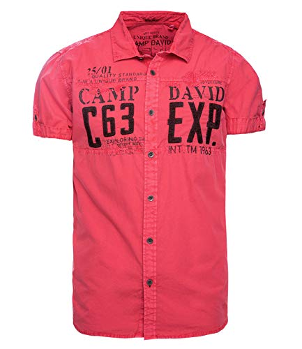 Camp David Herren Hemd Kurzarm Just let Things Happen CCU-1900-5717 S M L XL XXL XXXL (XXL, red)