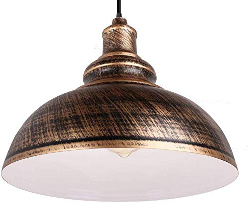 Lámpara colgante industrial 30CM Lámpara colgante de metal vintage Pantalla E27 Lámpara de techo para cocina Comedor - Óxido de cobre antiguo
